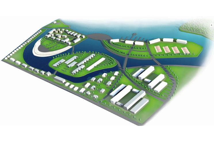 Futurystyczna urbanistyka wyspy mieszkalne