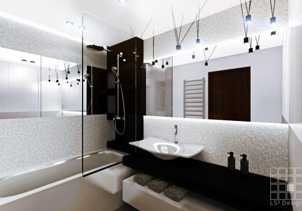 projekt monochromatycznej łazienki